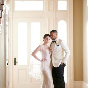 Brautpaar, Hochzeitskleid, Martina Liana, Glitzer, Schleier, Smoking