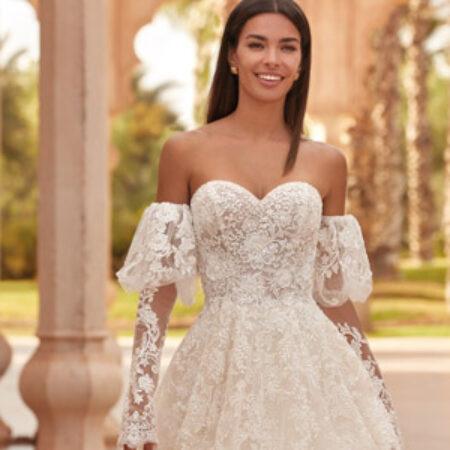 Off-Shoulder Kleid, Brautkleid, Demetrios Hochzeitskleid