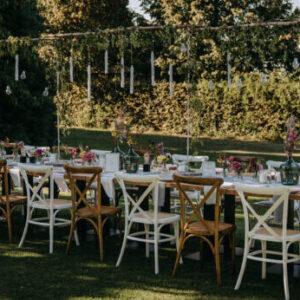 Gartenhochzeit, lange Tafel, Hochzeit, Sommer, Natur